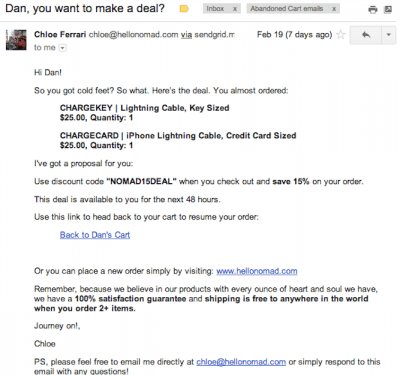 Abandoned cart email example 3