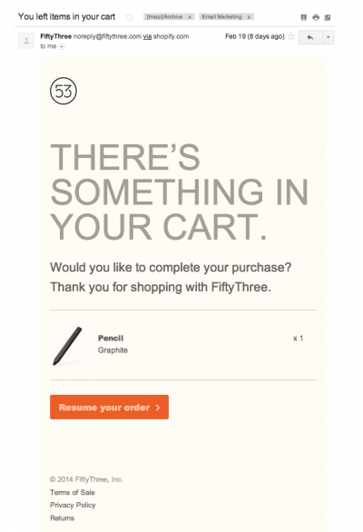 Abandoned cart email example 2
