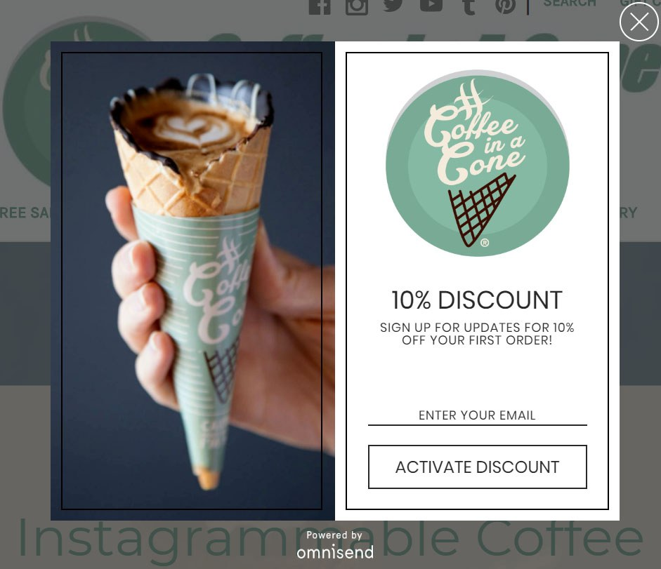Coffee in a Cone exit popup example