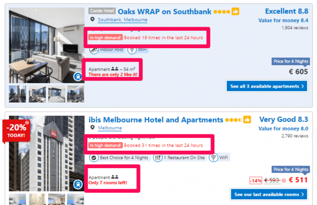 An example from Booking.com shows how the company is using scarcity to get its users to buy