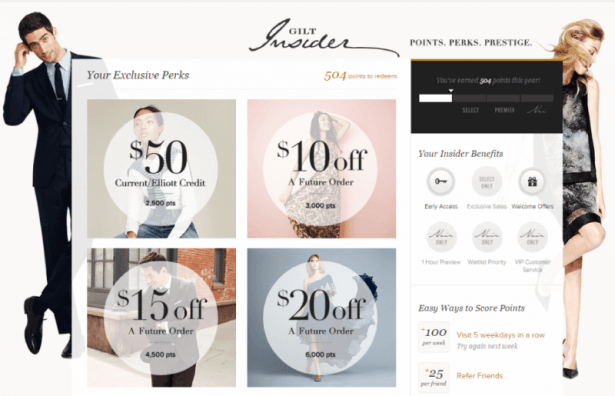 Here's an example of a great reward program from Gilt's Insider program