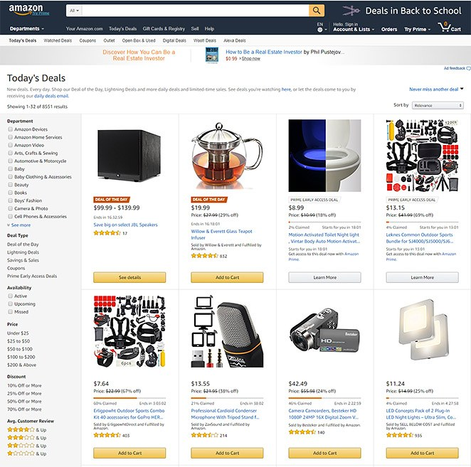 The Amazon site has some design problems, but it's brand name and product offerings are truly amazing