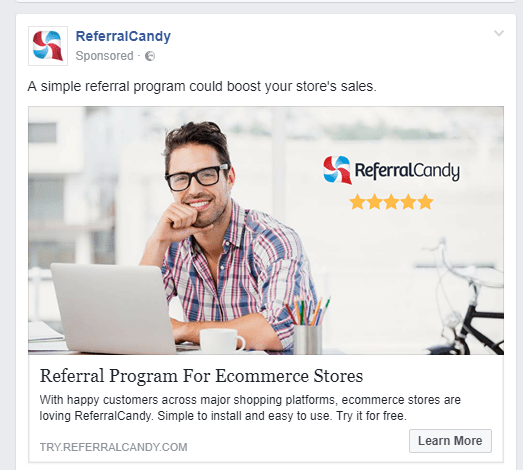 Here's some retargeting ads from Referral Candy after I visited their store. Your News Feed is pretty much your browsing history.
