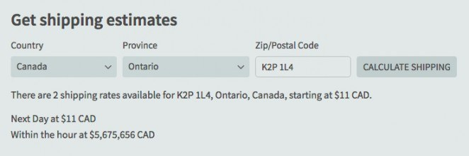 You can add a shipping calculator or estimator right into your shopping cart