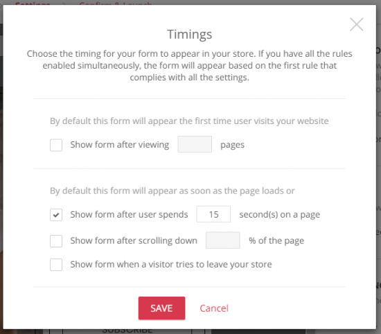 You can set your popup signup forms to activate after certain triggers