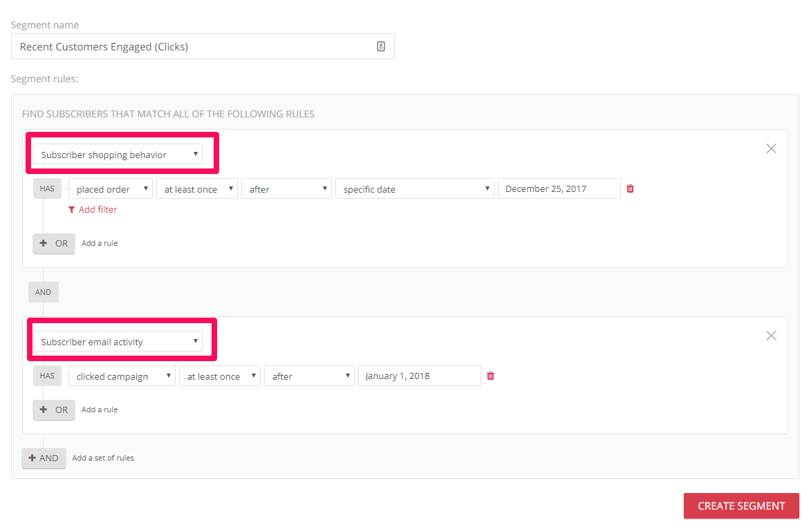 Omnisend's new segmentation features allow you to segment by placed order and newsletter clicks