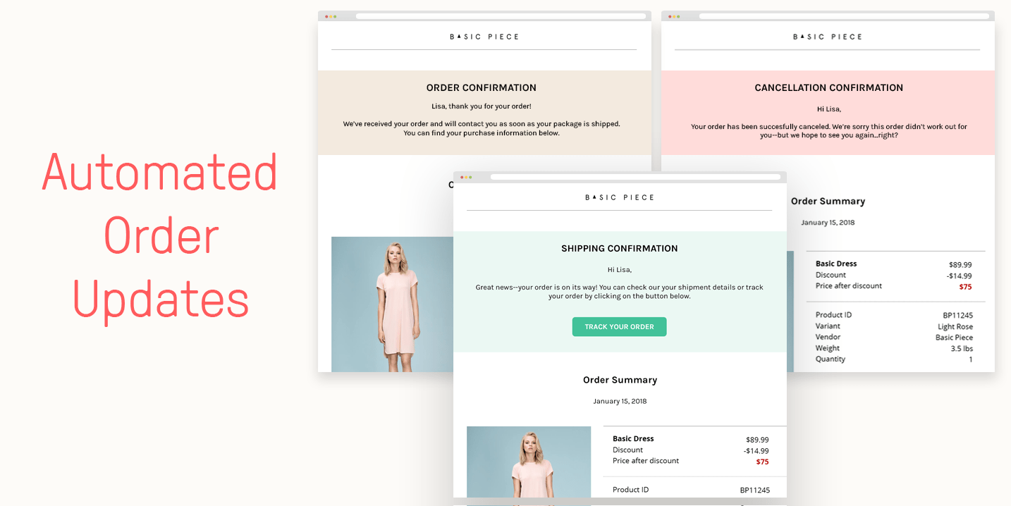 Try out our new automated order updates to send out shipping confirmation and cancellation confirmation emails