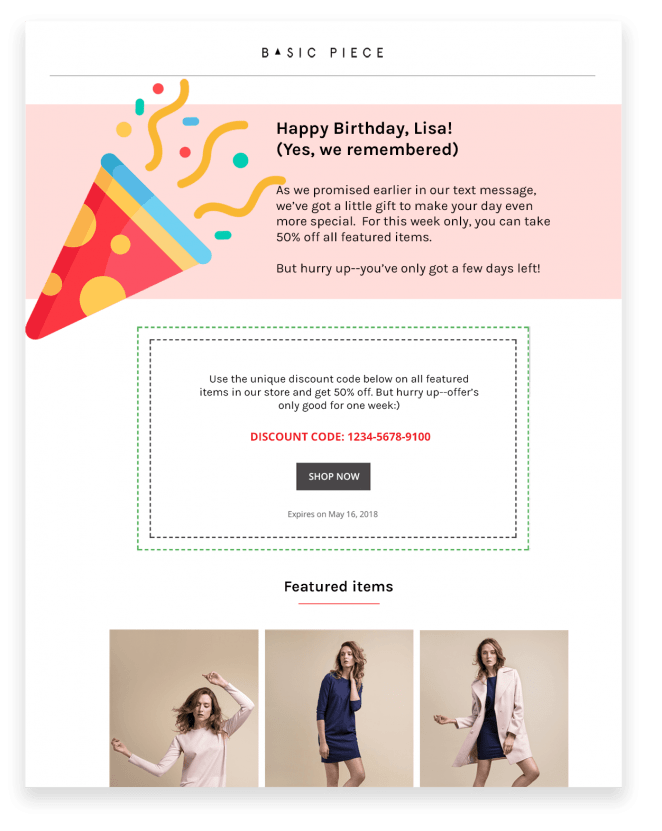 Use Omnisend's SMS marketing messages in combination with regular emails in your birthday automation workflow