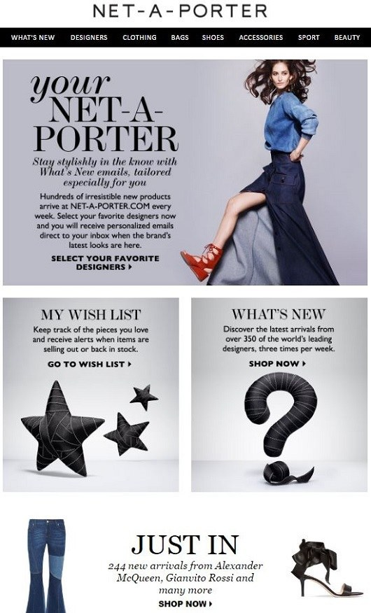 Net-A-Porter's welcome email