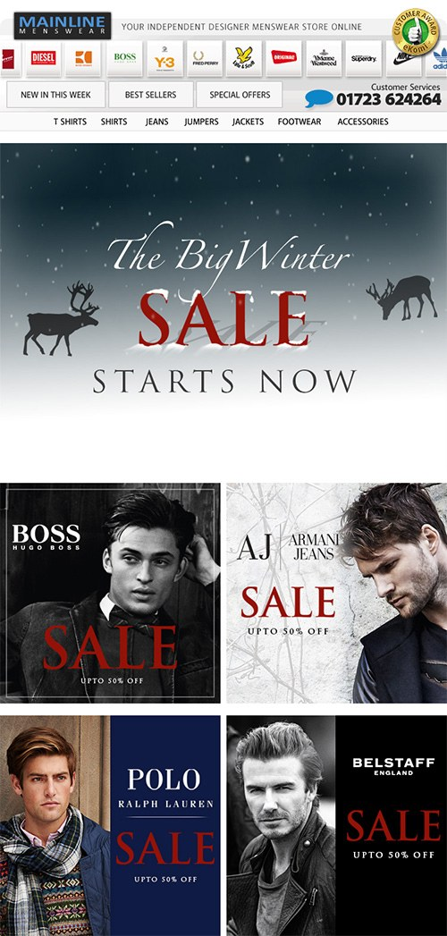 An example of Mainline Menswear's winter sale email campaings