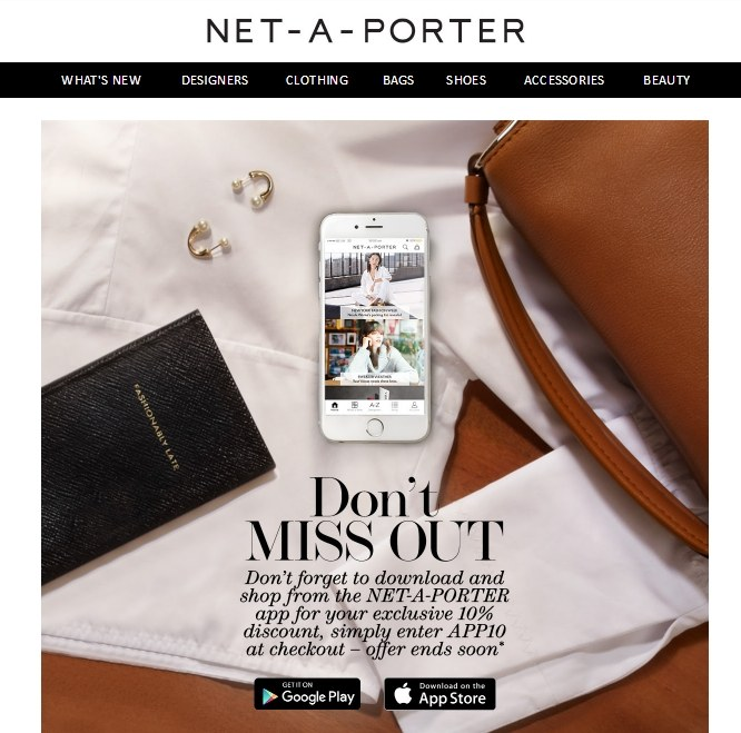 Net-a-Porter's email reminders to connect on mobile