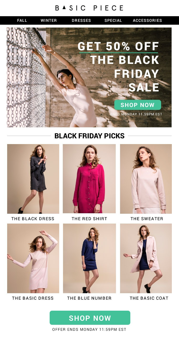 The product-focused Black Friday email template