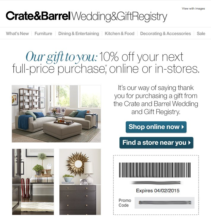 Crate & Barrel follow up emails