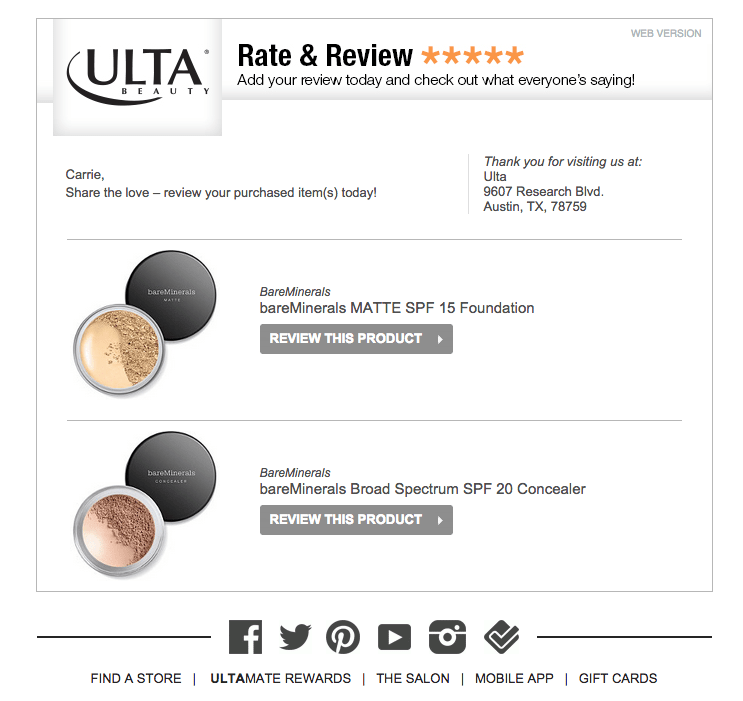 WooCommerce follow up emails: example by Ulta