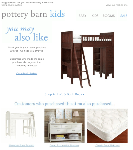Pottery Barn Kids follow up email