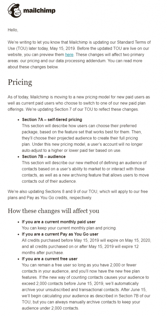 Mailchimp-pricing-increase