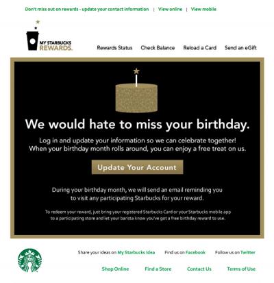 Starbucks win back email