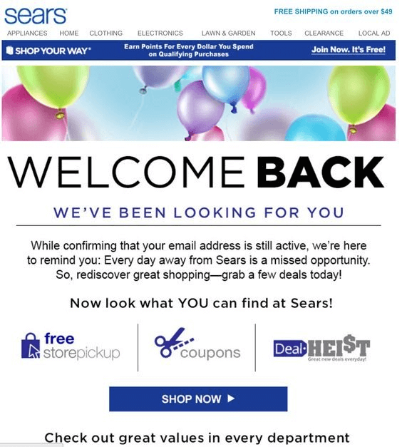 win back email saying welcome back