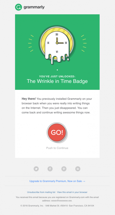 win back email saying you have earned a new badge