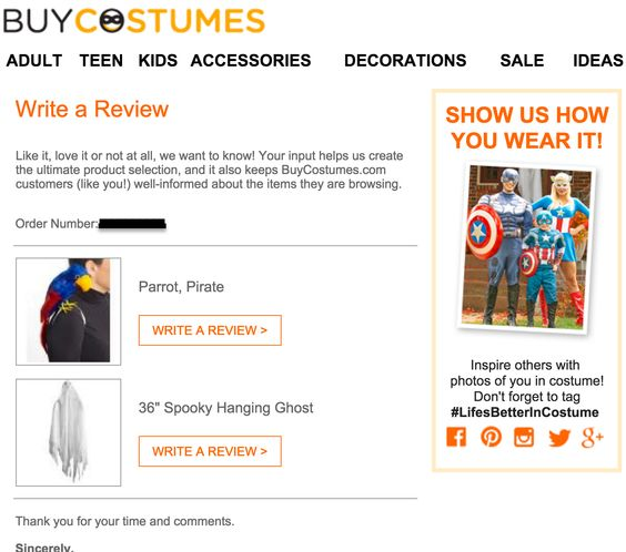 Buy Costumes email to leave a review
