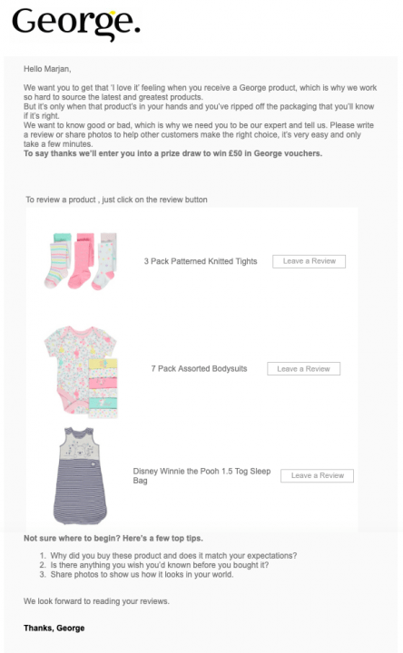 Email asking to leave a review for each product