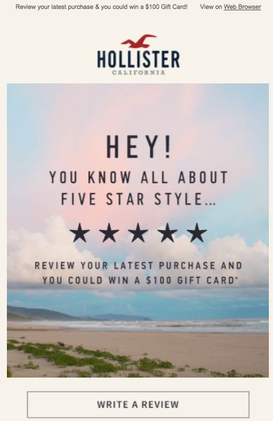 HollisterCo.com email asking to leave a review