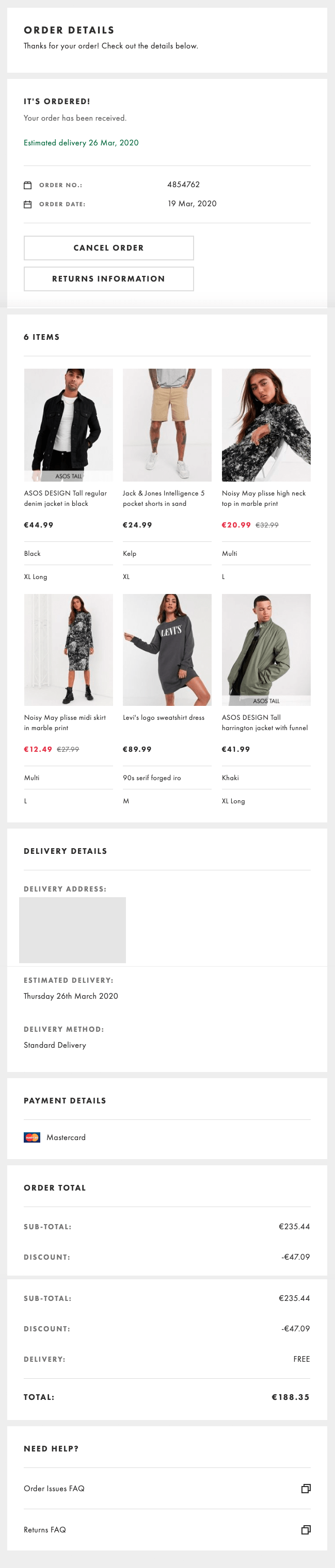 Asos order confirmation page with order details