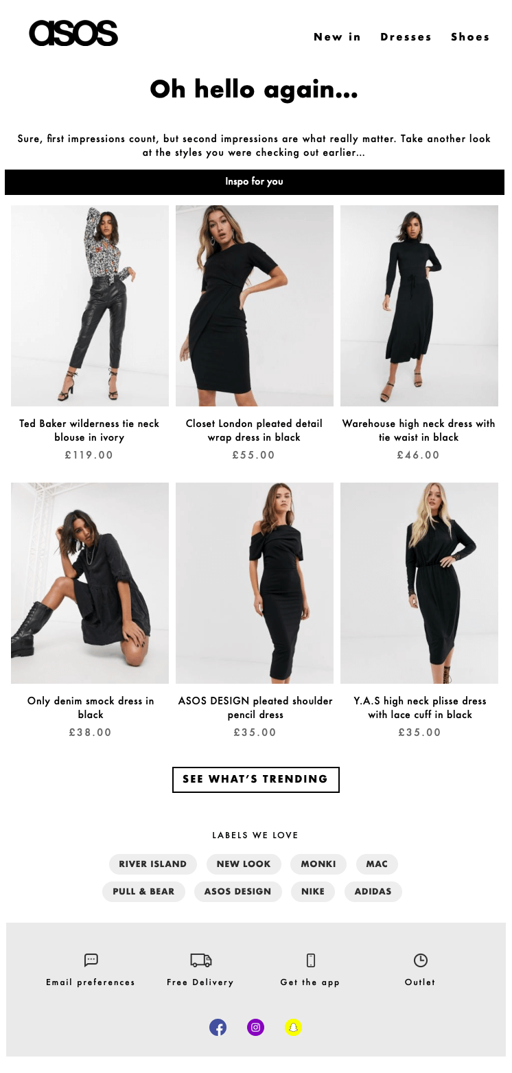 ASOS Browse or cart abandonment email