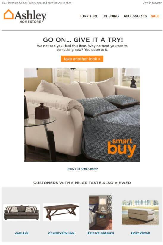 Ashley homestore cart abandonment email