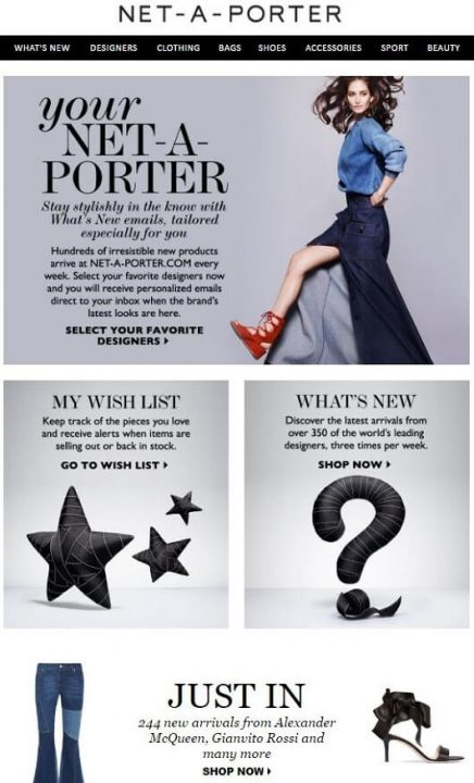 welcome email sent by Net-a-porter