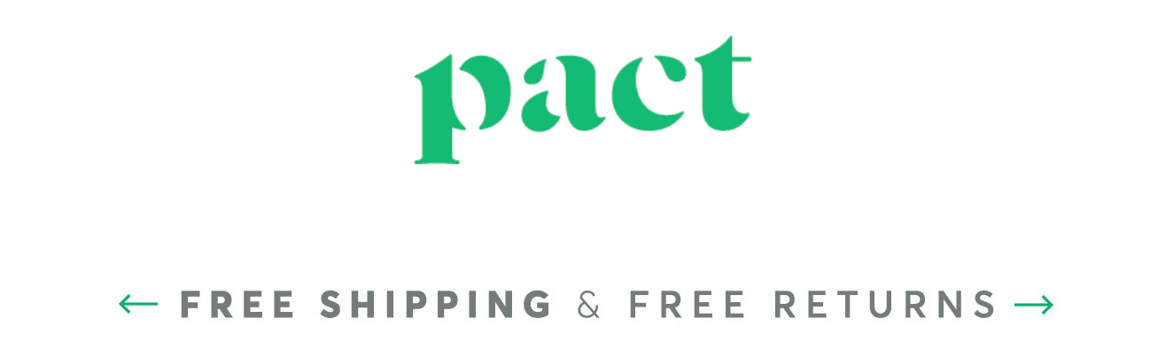 Pact suggesting free shipping and returns