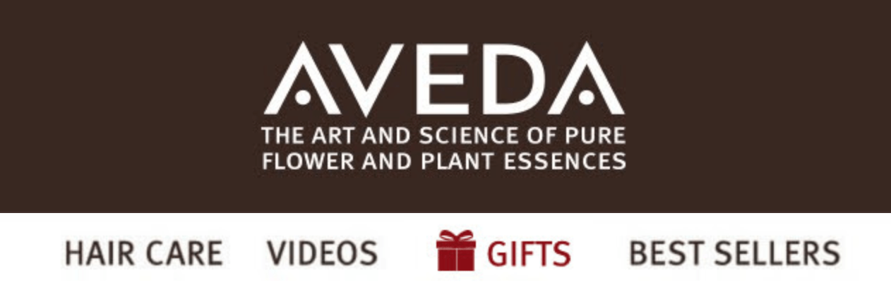 AVEDA showing gifts section in website's navigation