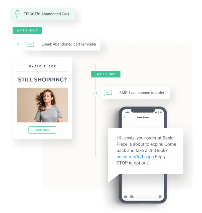 SMS and Email as channels for cart abandonment