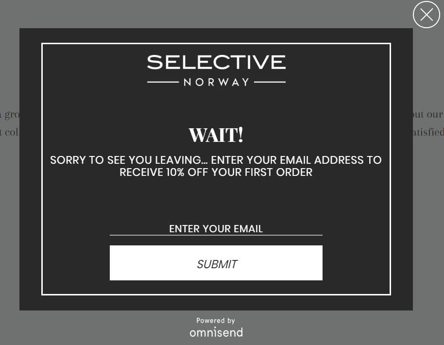 pop-up message SELECTIVE norway
