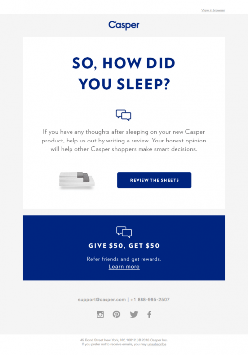 Casper email asking for a review