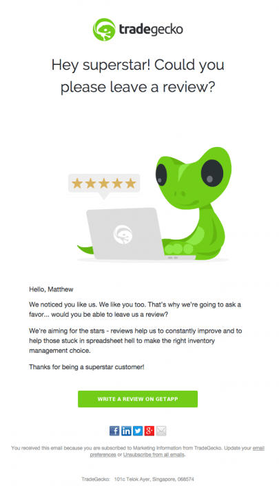 Trade Gecko email asking for a review