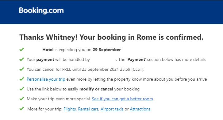booking thanks VIP customers