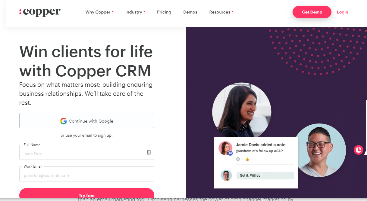 screenshot of Copper's homepage