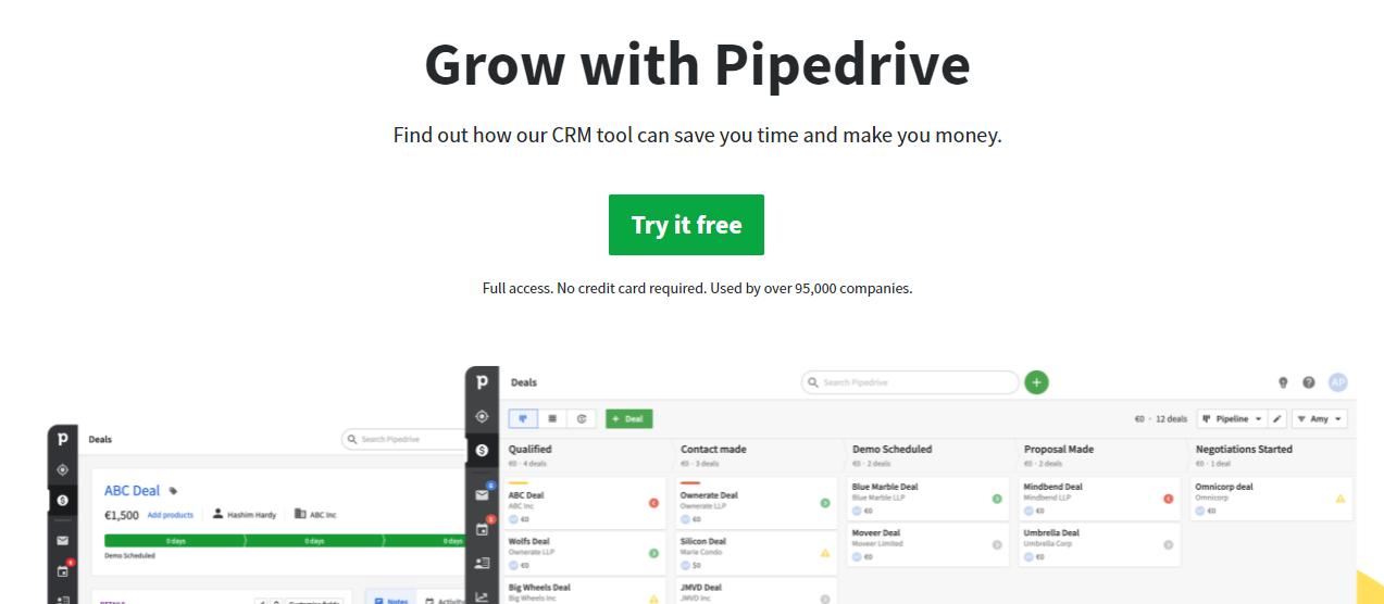 screenshot of Pipedrive's homepage